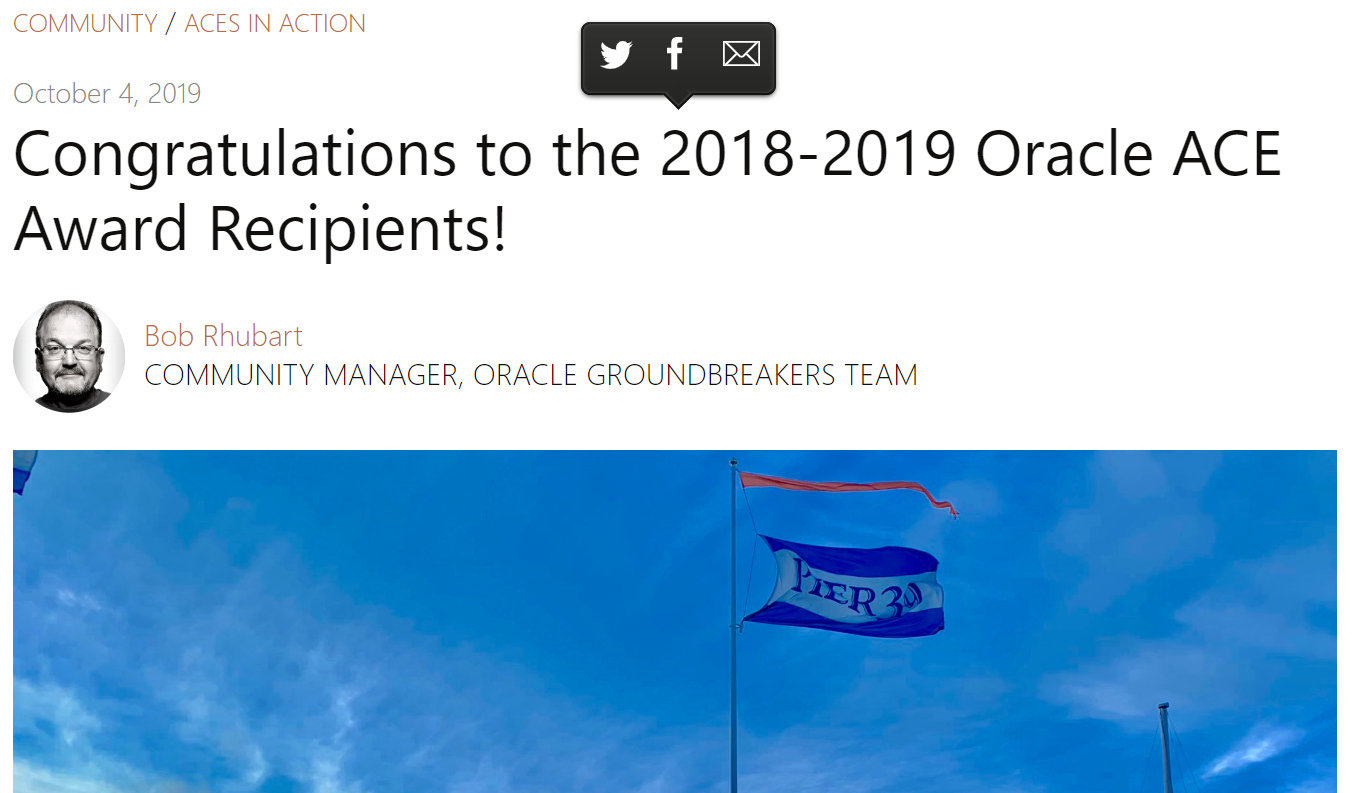 2018-2019 Oracle ACE Award Recipientsに選ばれていました