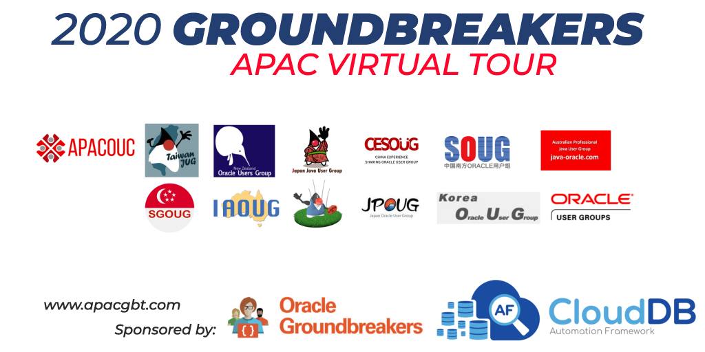 Oracle Groundbreakers APAC Virtual Tour 2020で2つのセッションを担当します